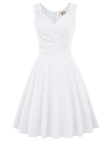 GRACE KARIN weiß Kleid Weihnachten Petticoat Kleider Damen Festliche Kleider v Ausschnitt Kleid CL698-7 3XL