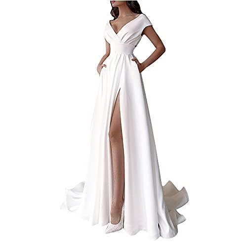 Brautkleider A-Linie Spitze Damen Hochzeitskleider V-Ausschnitt Lange Ballkleid Brautmode Prinzessin Kleider...