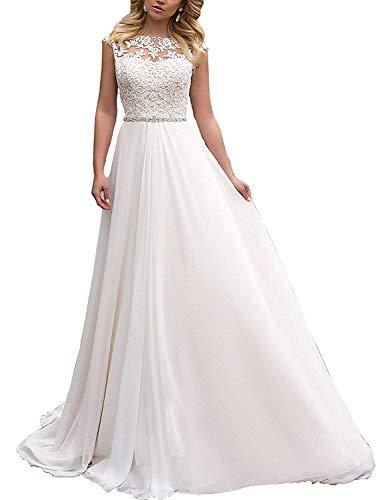 YASIOU Elegant Hochzeitskleid Damen Lang Hochzeitskleider Spitze Chiffon Brautmode Rückenfrei Weiß Vintage Spitze A...