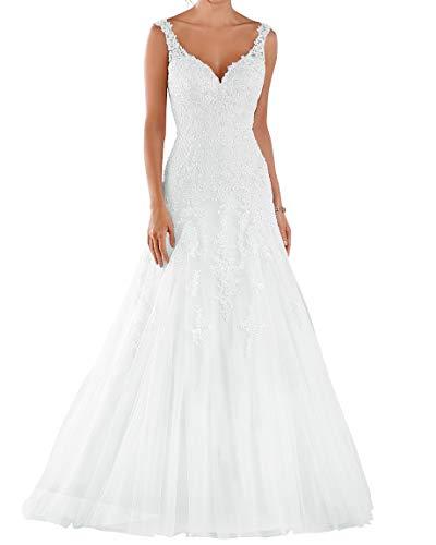 Romantic-Fashion Brautkleid Hochzeitskleid Weiß Modell W105 A-Linie Stickerei Satin Tüll DE Größe 46