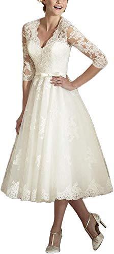 Brautkleider Spitzen A-Linie Hochzeitskleid Kurz Prinzessin Brautmode Langarm Standesamt Vintage Brautkleid Elfenbein 38