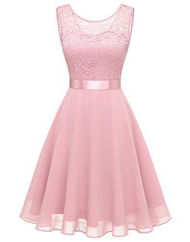 BeryLove Women Short Floral Lace Bridesmaid Dress Vintage Cocktail Party Swing Dress BLP7005PinkXS