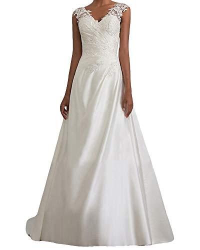 MISSMAO_FASHION2019 Brautkleid Lang Hochzeitskleider Spitze Damen Brautmode V-Ausschnitt Bodenlang Abendkleid...