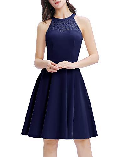 Bbonlinedress Damen Cocktailkleid Elegant Kleid Abendkleider Rockabilly Kleid Retro Vintage Neckholder Kleider...