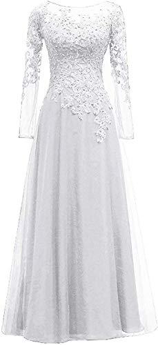 HUINI Abendkleider Spitze Ballkleider Lang A-Linie Brautjungfernkleider Brautkleid Vintage Festkleid Langarm Weiß 40