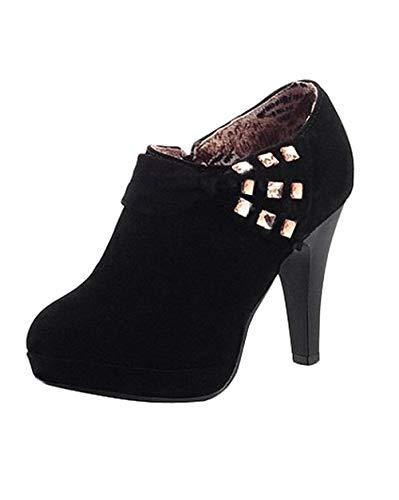 Minetom Damen Klassisch Vintage Schuhe Pumps High Heels Ankle Boots Brautschuhe Party mit Schleife Strass Schwarz EU 35