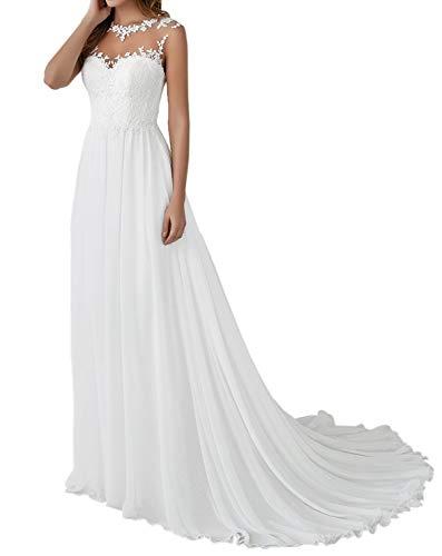 Romantic-Fashion Brautkleid Hochzeitskleid Weiß Modell W110 A-Linie Stickerei Satin Chiffon DE Größe 46