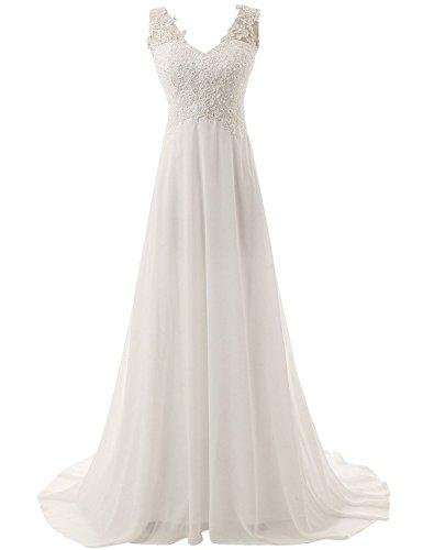 JAEDEN Brautkleid Lang Hochzeitskleider Spitze Strand Damen Brautmode Chiffon V-Ausschnitt Elfenbein EUR38