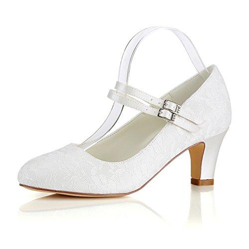 Emily Bridal Seide Hochzeit Schuhe Vintage Round Toe Mary Jane Brautschuhe Hochzeit Gast Schuhe, 42 EU, Elfenbein