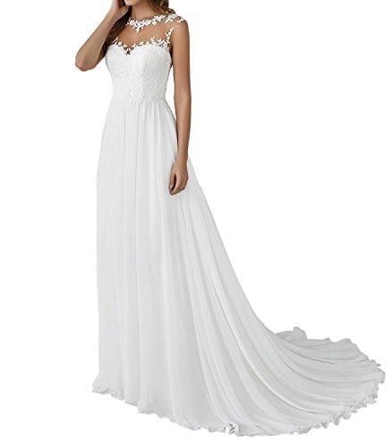 YASIOU Hochzeitskleid Elegant Damen Lang Weiß Vintage Spitze Chiffon A Linie Hochzeitskleider Brautkleid Große...