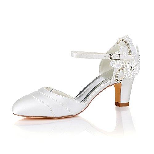 Emily Bridal Vintage Hochzeit Schuhe Elfenbein Round Toe Lace Strass Brautschuhe (EU36, Elfenbein)