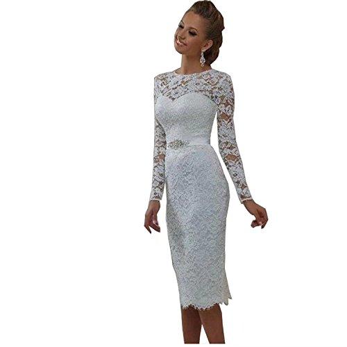 YASIOU Brautkleider Kurz Elegant Vintage Weiß Bustier Langarm Tüll Spitze Knielang mit ärmel Hochzeitskleid