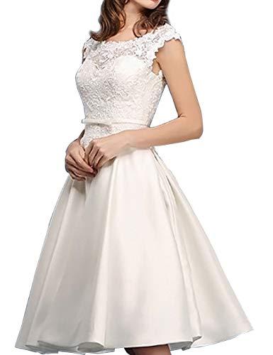 Kurze Brautkleider Vintage A-Linie Rückenfrei Spitze Satin Standesamtkleid Hochzeitskleid Wadenlang Schlicht Elfenbein...