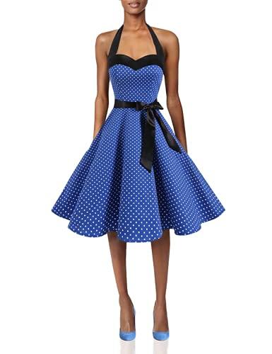 DRESSTELLS Rockabilly Brautkleid Damen Neckholder 1950er Vintage Retro Cocktailkleid Petticoat Faltenrock Royal Blue...