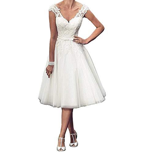 YASIOU Hochzeitskleid Damen Kurz Vintage Knielang weiß Spitze Tüll Glitzer Standesamt Sexy V-Ausschnitt Brautkleid