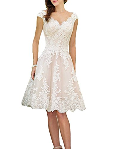 YASIOU Hochzeitskleid Damen V-Ausschnitt A Linie Kurz Spitze Tüll Standesamt Vintage Brautkleider Knielang...