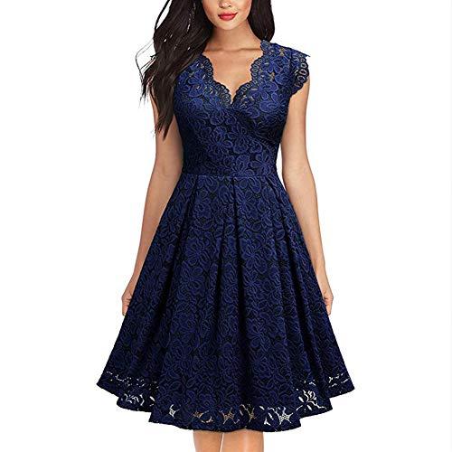 FEOYA Abendkleider Blau Kurz Elegant Brautkleid Spitze Vintage a Linie Kleider Rockabilly Festlich 50er Cocktailkleid...