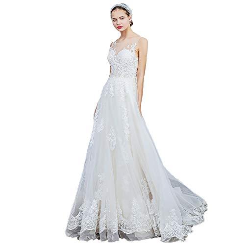 roroz Women's Sweet Lace Brautkleid, Brautkleid Short Tailing, einfache Brautkleider für Hochzeitskirche Hochzeit im...