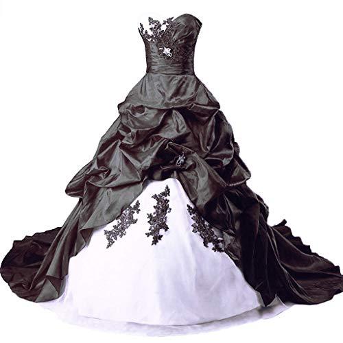 Vantexi Damen Lange Formales Gotisch Brautkleider Spitzenkleid Vintage Hochzeitskleider Weiß & Schwarz Größe 46