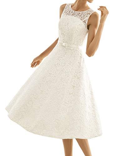 Kurze Brautkleider Spitze Vintage A-Linie Schlichte Hochzeitskleider Standesamt Wadenlang Cocktailkleider Partykleider...