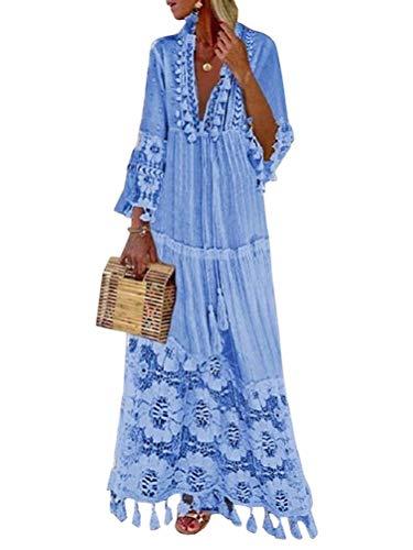 Minetom Langes Kleid Damen 3/4 Ärmel Floral Spitzenkleid V-Ausschnitt Strandkleid Boho Vintage Party Maxikleid...