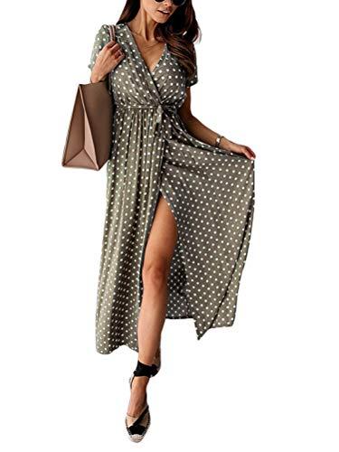 Minetom Damen Boho Lange Kleider V-Ausschnitt Sommerkleider Kurzarm Wickelkleid Maxikleid Vintage Strandkleid mit...