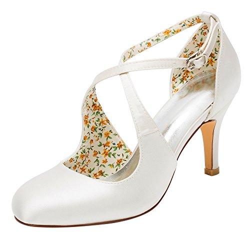 Emily Bridal Brautschuhe Vintage Wedding Shoes High Heel Pumps Ivory Cross Front Ankle Strap Bridal Shoes (EU39,...