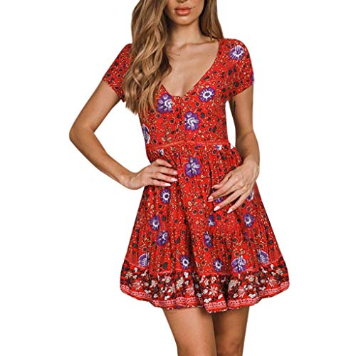 AmyGline Sommerkleid Damen Kleider Sexy V-Ausschnitt Kurzarm Rüschen Kleid Blumendruck Minikleid Boho Strandkleid