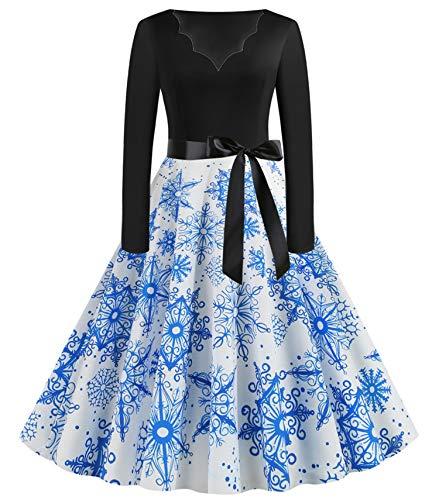 JIER Weihnachtskleid Damen Druchen Swing Festlich Kleid Elegant Abendkleid Vintage Weihnachten Party Kleid Brautkleid...