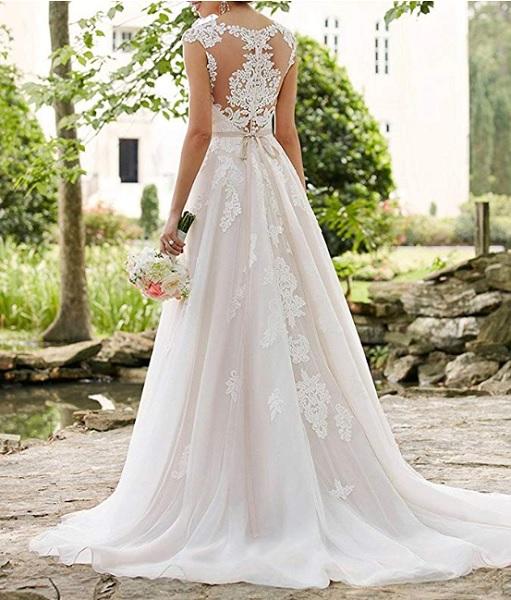 Vintage Brautkleid Boho Hochzeitskleid Hippie Brautkleid Spitze schlicht rückenfrei lang weiß XXL